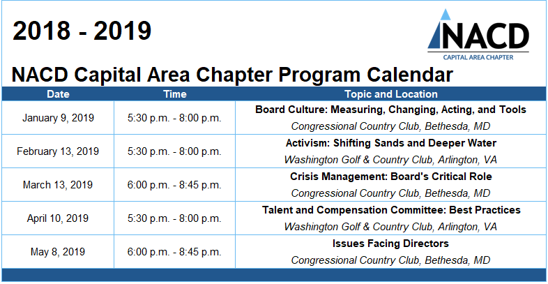 Capital Area Chapter 2018-19 Calendar